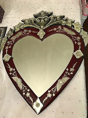Venetian glass mirror vintage heart shaped gorgeous--must see!