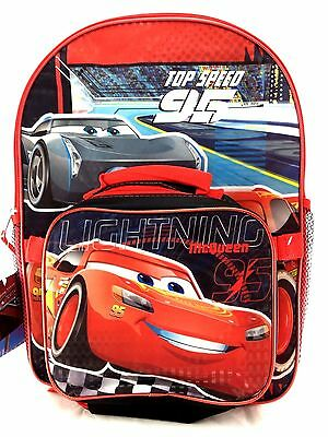 "Disney Pixar Cars 3 16"" Backpack with Lunch Kit Prism Printing"