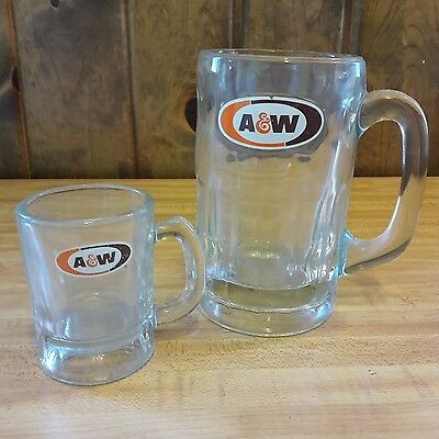 2 Vintage Heavy Glass A & W Root beer Mugs, Papa & Baby From Estate Sale