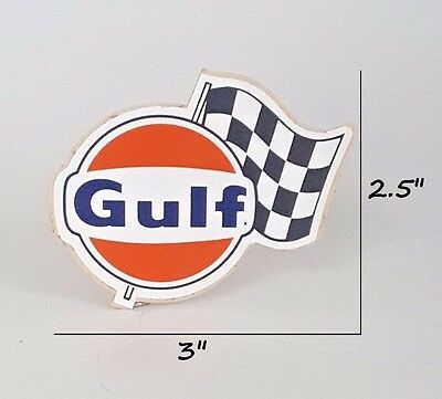 Gulf Oil Racing Sticker/Decal Checkered Flag ORIGINAL 1960's Rally Sticker