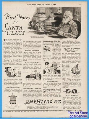 1926 Hendryx Bird Cage Letter To Santa New Haven CT Vintage Christmas Print Ad