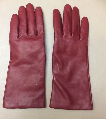 Marshall Field Women's Leather Gloves Red Size 7 Cashmere Lined EUC