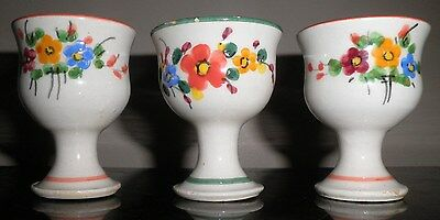 Spanish Ceramic Egg Cups Spain Hand Painted Flowers Lot Of 3 1980 Retro Eggcups