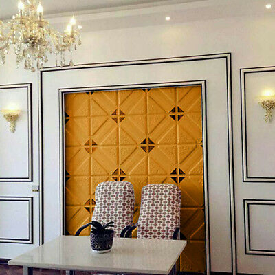 Faux Leather Carved Soft 3D Wall Panels PE Foam Wall Sticker Interior Decor