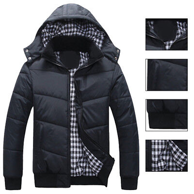 Men's Slim Jacket Warm Thick Hoodie Hooded Cotton Coat Parka Winter Down Outwear