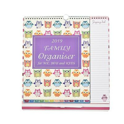 2018 Owls Large Family Organiser Calendar With Pen, Shopping List, Planner