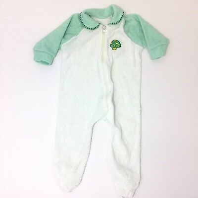 Vintage Terry Cloth Baby Sleeper Size 0-3 Months 1970s Mushroom Embroidery Green