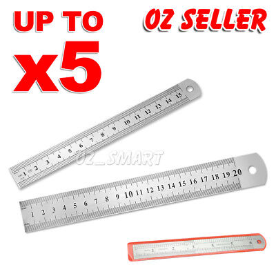 1X-5X 15cm 20cm DOUBLE SIDED STAINLESS STEEL METAL RULER RULE PRECISION OZ