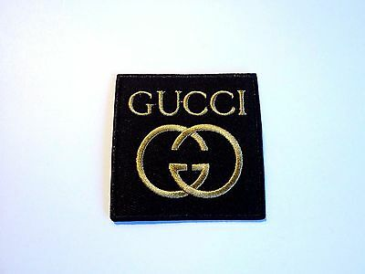 1x Gold Gucci Logo Patch Embroidered Cloth Applique Badge Patches Iron Sew On