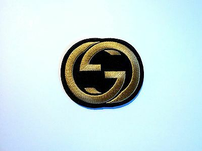 1x Gold Gucci Logo Patch Embroidered Cloth Applique Badge Patches Iron Sew On 1