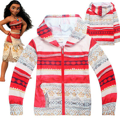 Anime Kids Moana Cosplay Hooded Sweatshirt Halloween Hoodies Party Costume