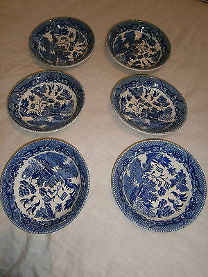 Vintage Japanese Willow Blue & White Sweet Bowls - Set Of 6