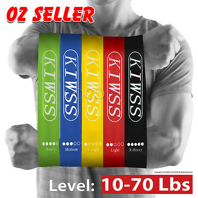 Set Of 5 Heavy Duty Resistance Band Loop Power GYM Fitness Exercise Workout Yoga