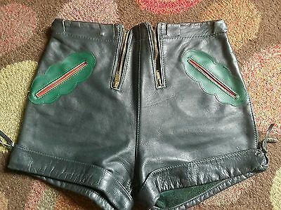 Vintage 60's Leather Hotpants Laderhosens,Mod Gogo Pan's People Burlesque.XS 6""