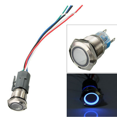 12V 19MM Waterproof Car Dash Metal Momentary Engine Start Push Button LED Switch