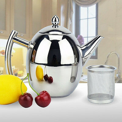 1L / 1.5L Silver Stainless Steel Tea Coffee Pot Teapot Removable Mesh Fliter A++