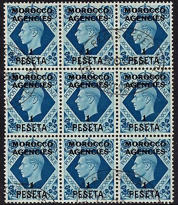 1937 SG171 Overprint Morocco Agencies Spanish Currency 1P on 10d Fine Used