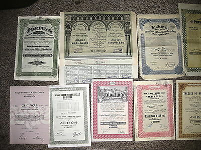 Old Share Certificates x 12 - 1868 to 1978
