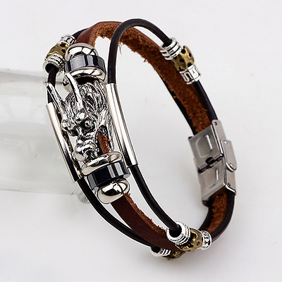 Fashion Punk Men's Women Dragon Charm Leather Bracelet Bangle Cuff Jewelry