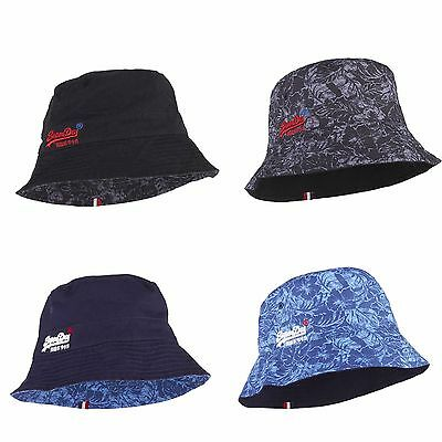 6fe673e73 SUPERDRY PATTERSON REVERSIBLE Bucket Hat Navy or black Hibiscus One Size
