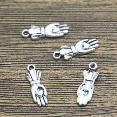 40pcs heart on hand Charms Antiqued Silver Tone heart hand charm pendants 22x7mm