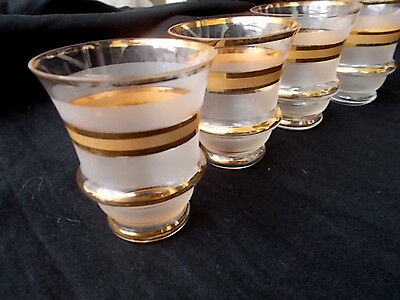 Set of 4 Vintage Gilt Decorated & Frosted Glasses Sherry/Port circa 1950s - 60s