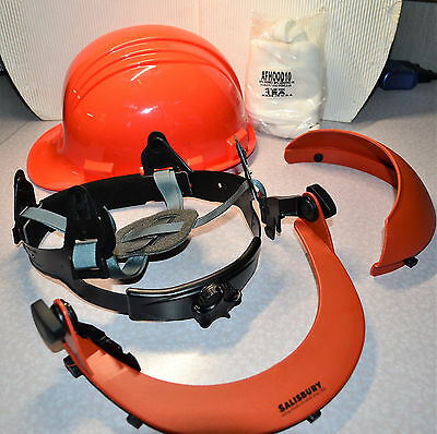 New North Type 1 Class E Hard Hat W/salisbury Arc Flash Face Shield Chin & Top