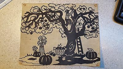 Vintage cloth art of a Person picking fruit from a tree BLACK AMERICANA