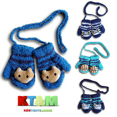 New Baby Boy Toddler Soft Fluffy Mittens Gloves With String Size 1-2, 2-3 Years