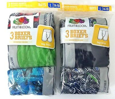 Fruit of the Loom Boys Boxer Briefs 3 Pk Size Large (14-16) 2 pks together
