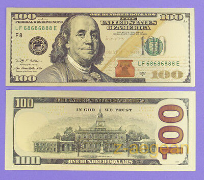 1 Pcs Color Gold Plated New $100 US dollar Banknotes Crafts Collection Nice