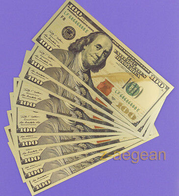 Wholesale Lot 10 Pcs Gold Plated $100 US dollar New Banknotes Crafts Collection