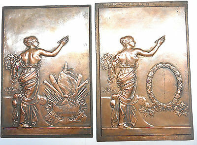 """France pair of galvanos MEMORIAL approx. 135mm x 198mm (about 7"""" x 9"""") by Rivet"""