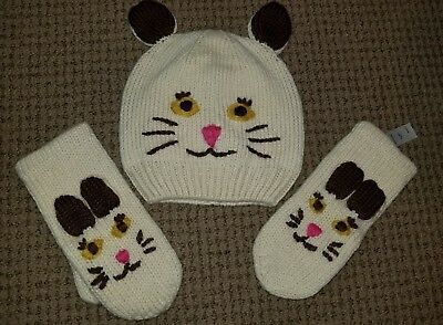 Girls Mini Boden Cat Hat And Mittens Size 11-14 Years