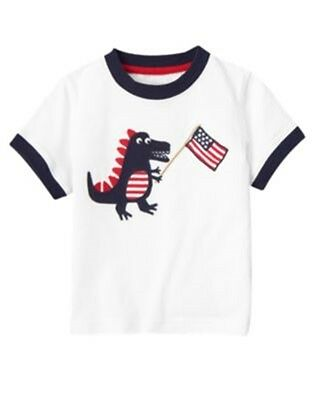 NWT 3-6 Months Gymboree JULY 4th Red Patriotic White Dinosaur Flag T-Shirt Top