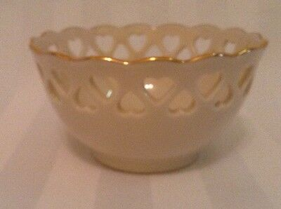 Lenox 4 Inch Bowl with Gold Trim and Heart Cutouts