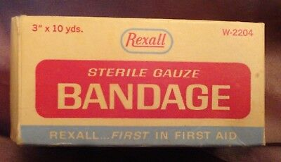 REXALL Sterile Gauze Bandage Box medical print advertising antique