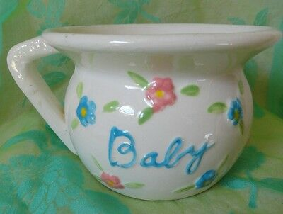 Vintage BABY Chamber Pot pink & blue flowers Numbered on bottom