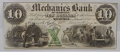 PCGS Choice About New 58PPQ 1855 $10 Mechanics Bank TENNESSEE Obsolete Note 6454
