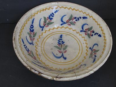 Antique 18th c. French Faience Ceramic Bowl with Staple Repair