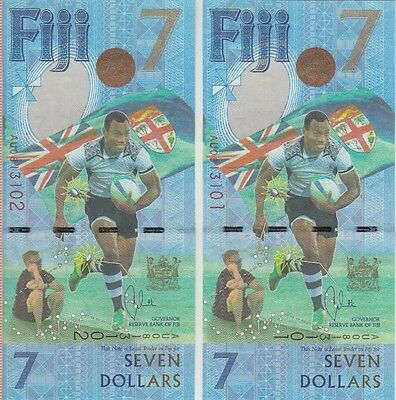 Fiji  7 Dollars X 2 Uncirculated New Banknote  Rubgy Gold Olympians, Unc