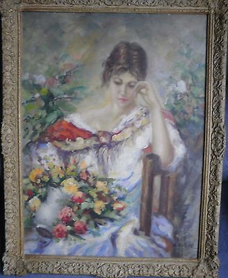 G. Bruce Oil On Board Impressionist Portrait Study Young Girl Amongst Flowers