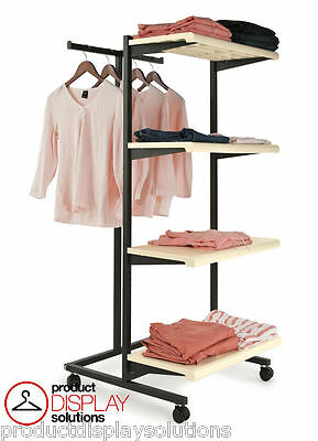 Combination Rolling Clothing Garment Display Rack w/ T Stand & Four Shelves