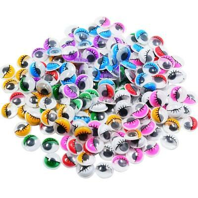 168x Colorful Self Adhesive Sticky Wiggle Googly Eyelash Eyes for Craft 12mm