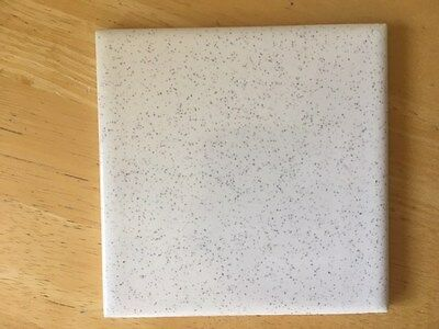 Mid-century vintage wall tile new 41/4 x 41/4  white with black / purple speck
