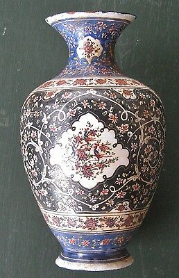 antique vintage persian enamel on copper vase mina kari middle east islamic