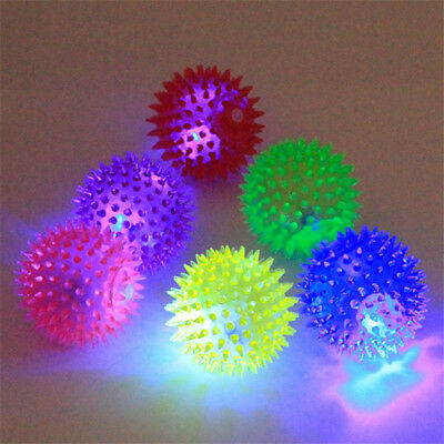 LED Flash Chew Squeaky Spiky Ball Toys Pet Dog Cat Play Training Fun Toy