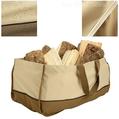NEW Jumbo Fireplace Fire Wood Log Tote. Firewood Canvas Caddy Carrier Holder Bag