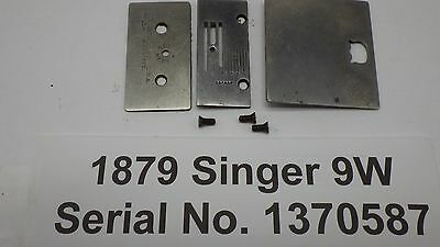 1879 Antique Orignial SINGER 9W Sewing Machine Bobbin Needle & Oil Plates