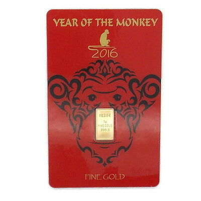 Igr Year Of The Monkey 1 Gram Fine Gold 999.9!!!
